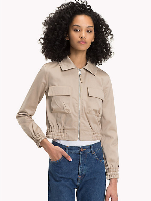 TOMMY JEANS TJW COTTON LOGO JACKET - SIMPLY TAUPE - TOMMY JEANS Women - main image