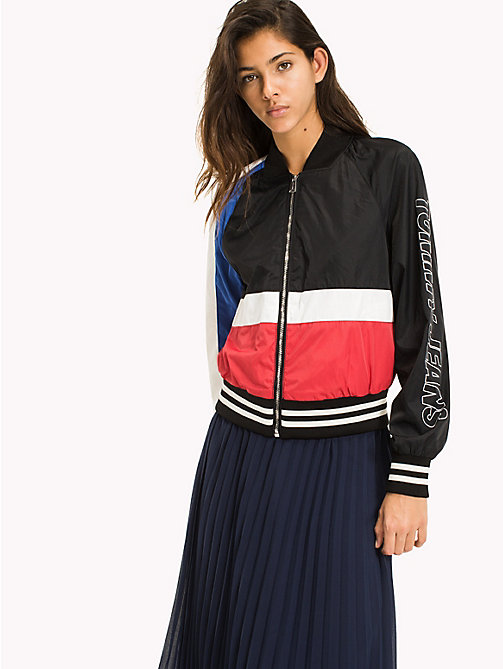 TOMMY JEANS Colour-Blocked Bomber Jacket - TOMMY BLACK / MULTI - TOMMY JEANS WOMEN - main image