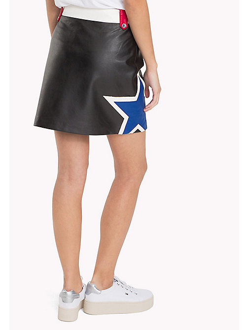 Faux Leather Mini Skirt - TOMMY BLACK / MULTI - TOMMY JEANS Clothing - detail image 1