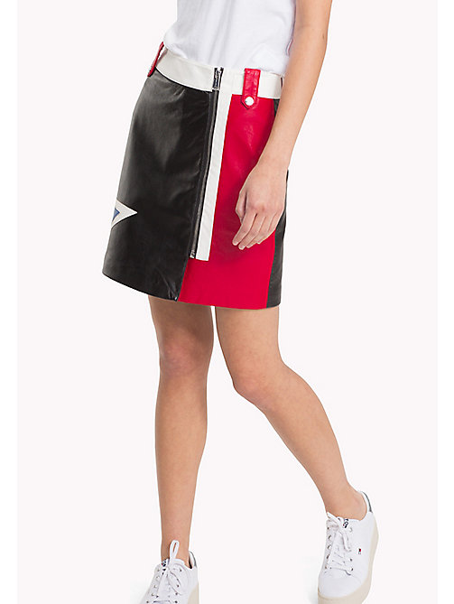 Faux Leather Mini Skirt - TOMMY BLACK MULTI - TOMMY JEANS Clothing - main image