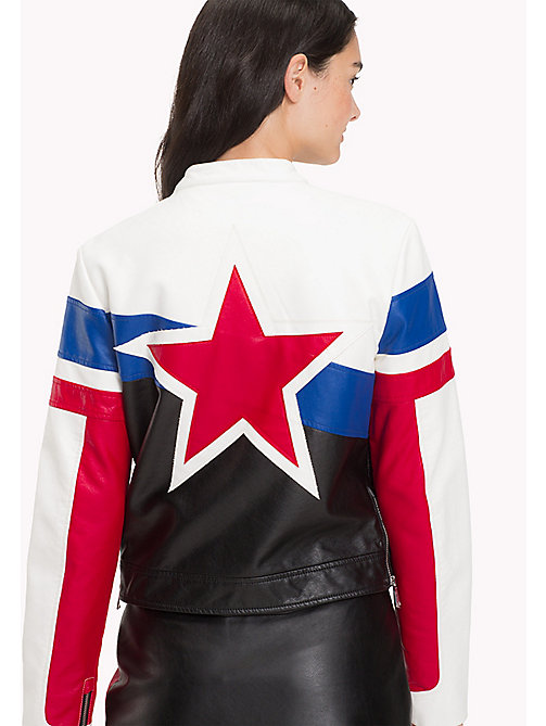 TOMMY JEANS Faux Leather Biker Jacket - BRIGHT WHITE / MULTI - TOMMY JEANS Women - detail image 1