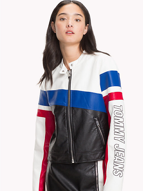 Faux Leather Biker Jacket - BRIGHT WHITE MULTI - TOMMY JEANS Clothing - main image