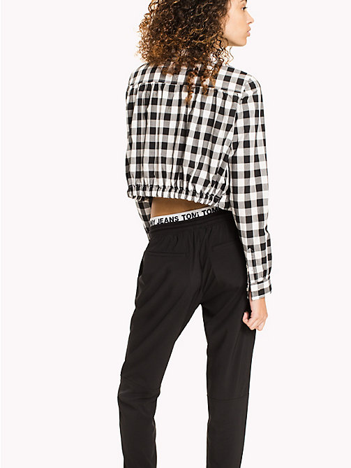 TOMMY JEANS Cotton Poplin Cropped Shirt - TOMMY BLACK / SNOW WHITE - TOMMY JEANS WOMEN - detail image 1