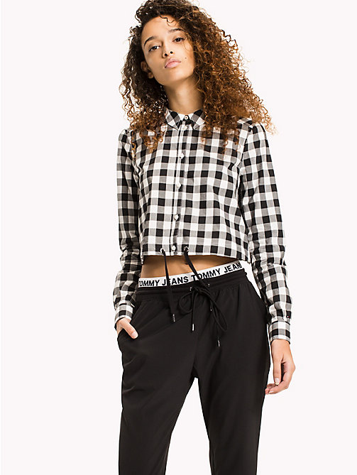TOMMY JEANS Cotton Poplin Cropped Shirt - TOMMY BLACK / SNOW WHITE - TOMMY JEANS Festivals Season - main image