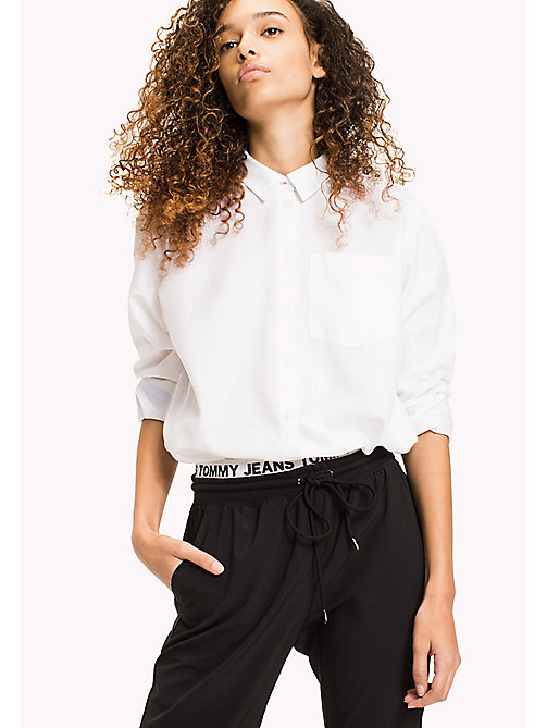 TOMMY JEANS Oxford Cotton Boyfriend Shirt - BRIGHT WHITE - TOMMY JEANS WOMEN - main image