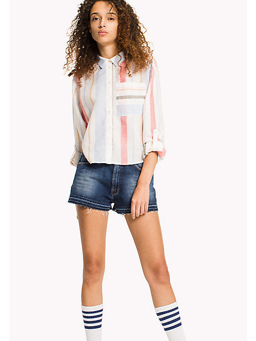 TOMMY JEANS Multi Stripe Cropped Shirt - IRREGULAR SHIRTING STRIPE - TOMMY JEANS VACATION - main image