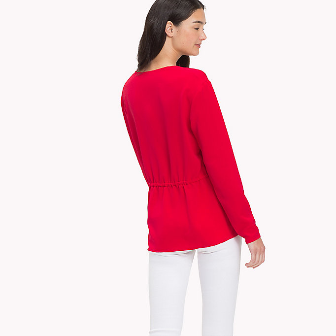 TOMMY JEANS V-Neck Blouse - SNOW WHITE - TOMMY JEANS Clothing - detail image 1