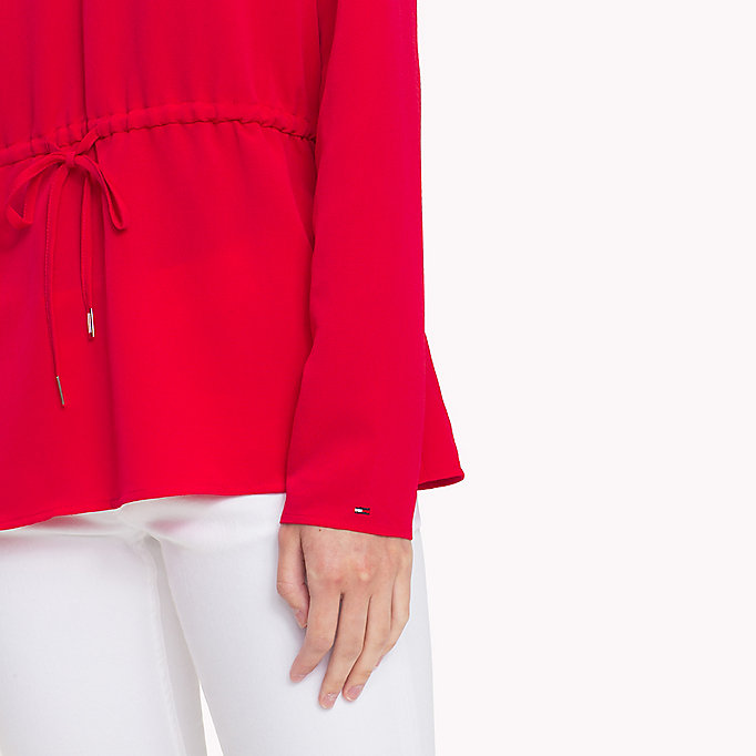 TOMMY JEANS V-Neck Blouse - SNOW WHITE - TOMMY JEANS Clothing - detail image 2