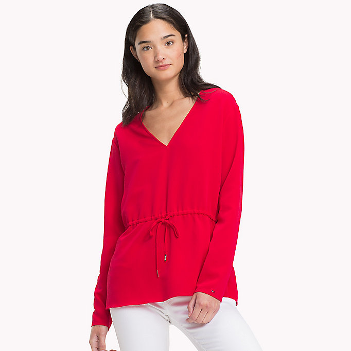 TOMMY JEANS V-Neck Blouse - SNOW WHITE - TOMMY JEANS Clothing - main image