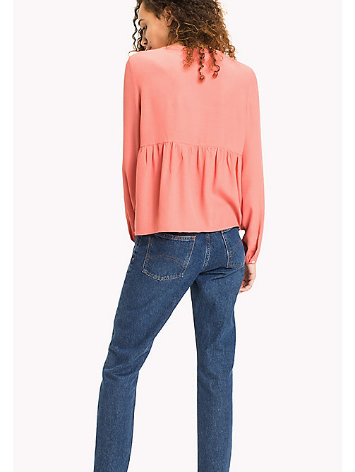 TOMMY JEANS Geometric Print Peplum Blouse - SPICED CORAL - TOMMY JEANS WOMEN - detail image 1