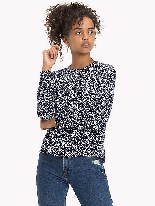 TOMMY JEANS Geometric Print Peplum Blouse - SMALL GEO PRINT - TOMMY JEANS FEMMES - image principale