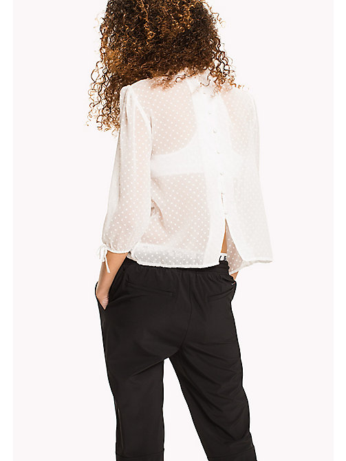 TOMMY JEANS Sheer Polka Dot Blouse - SNOW WHITE - TOMMY JEANS VACATION - detail image 1