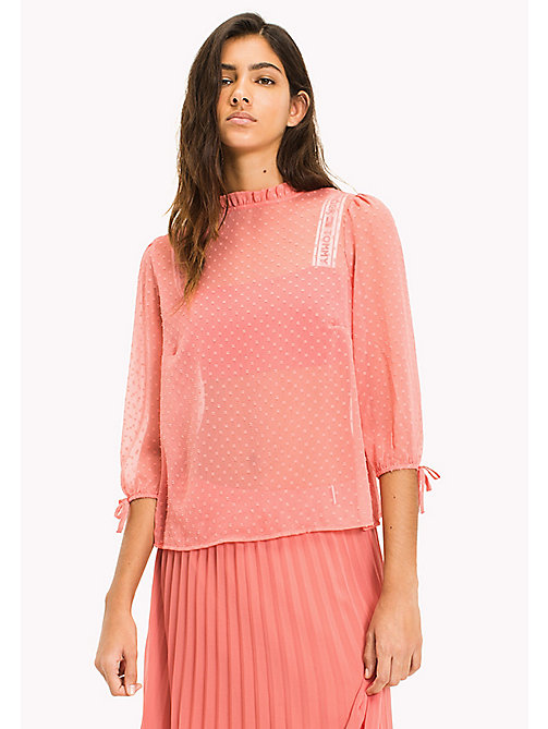 TOMMY JEANS Sheer Polka Dot Blouse - SPICED CORAL - TOMMY JEANS Tops - main image