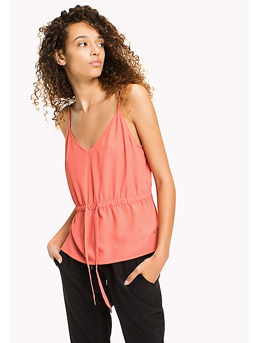 TOMMY JEANS V-Neck Strap Top - SPICED CORAL - TOMMY JEANS WOMEN - main image