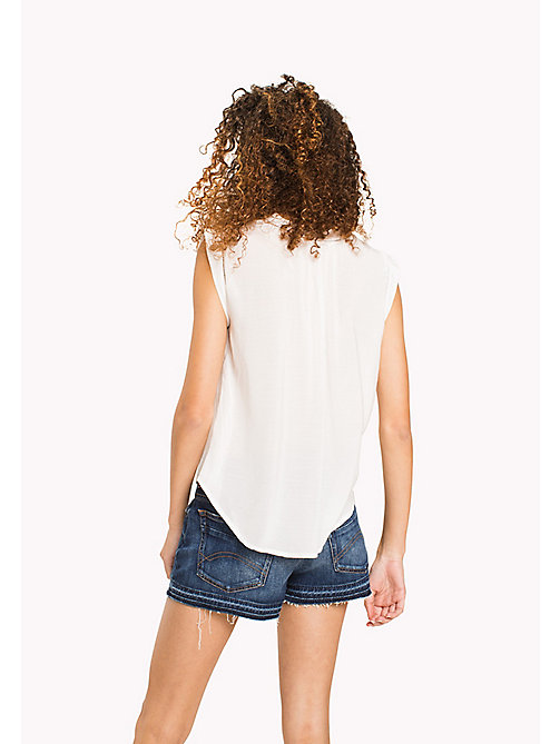 TOMMY JEANS Bow Neck Sleeveless Blouse - SNOW WHITE - TOMMY JEANS TOMMY JEANS WOMEN - detail image 1