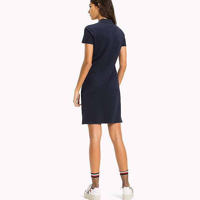 TOMMY JEANS Organic Cotton Stretch Polo Dress - BRIGHT WHITE - TOMMY JEANS Clothing - detail image 1