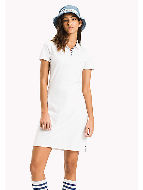 TOMMY JEANS Organic Cotton Stretch Polo Dress - BRIGHT WHITE - TOMMY JEANS WOMEN - main image