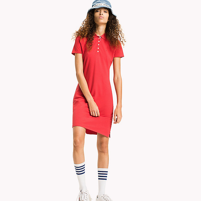 TOMMY JEANS Organic Cotton Stretch Polo Dress - BLACK IRIS - TOMMY JEANS Clothing - main image