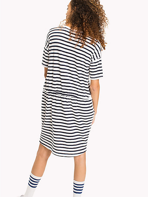TOMMY JEANS Cotton Jersey Stripe Dress - BLACK IRIS / BRIGHT WHITE - TOMMY JEANS Clothing - detail image 1