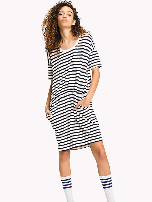 TOMMY JEANS Cotton Jersey Stripe Dress - BLACK IRIS / BRIGHT WHITE - TOMMY JEANS WOMEN - main image