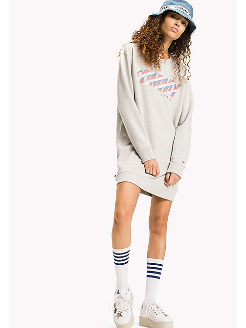TOMMY JEANS Fleece Sweatshirt Dress - LIGHT GREY HTR - TOMMY JEANS WOMEN - main image