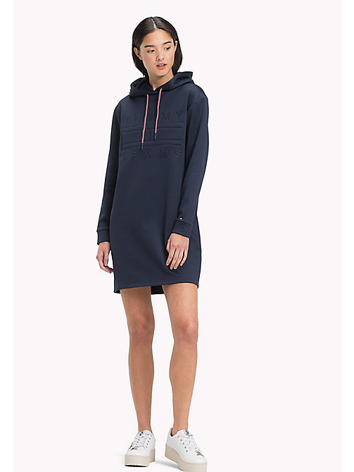 TOMMY JEANS Shiny Scuba Hoodie Dress - BLACK IRIS - TOMMY JEANS Dresses & Skirts - main image