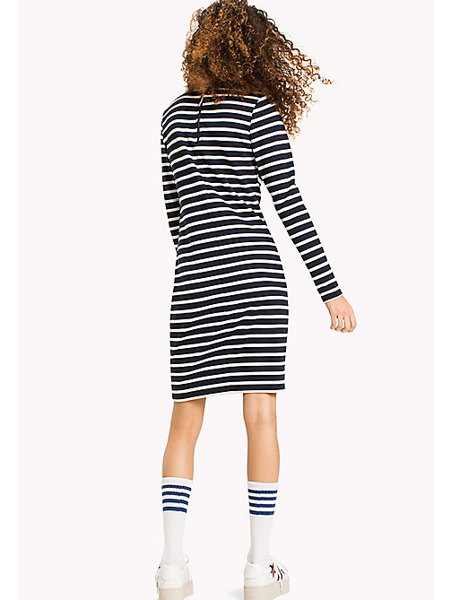 TOMMY JEANS Stripe Bodycon Dress - BLACK IRIS / SNOW WHITE - TOMMY JEANS Clothing - detail image 1