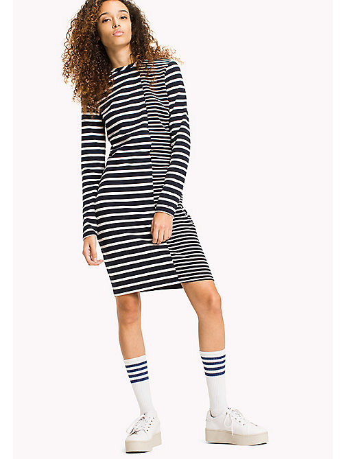 TOMMY JEANS Stripe Bodycon Dress - BLACK IRIS / SNOW WHITE - TOMMY JEANS Clothing - main image