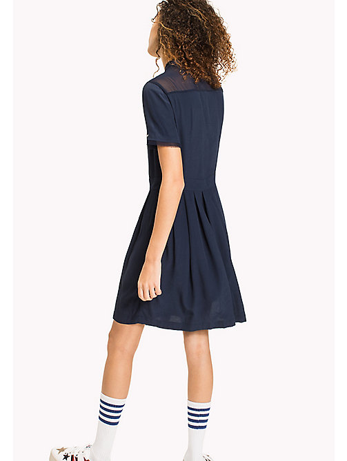 TOMMY JEANS Pintucked Shirt Dress - BLACK IRIS - TOMMY JEANS Clothing - detail image 1