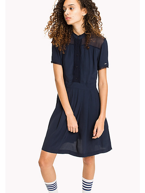 TOMMY JEANS Pintucked Shirt Dress - BLACK IRIS - TOMMY JEANS Midi - main image