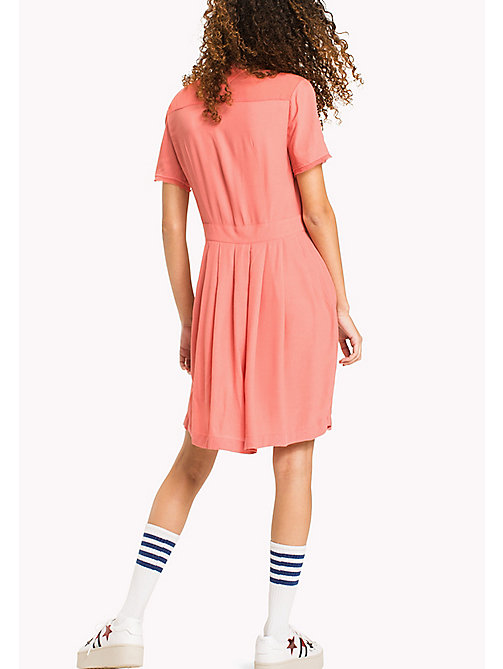 TOMMY JEANS Pintucked Shirt Dress - SPICED CORAL - TOMMY JEANS WOMEN - detail image 1