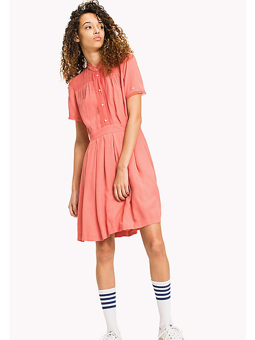 TOMMY JEANS Pintucked Shirt Dress - SPICED CORAL - TOMMY JEANS VACATION - main image
