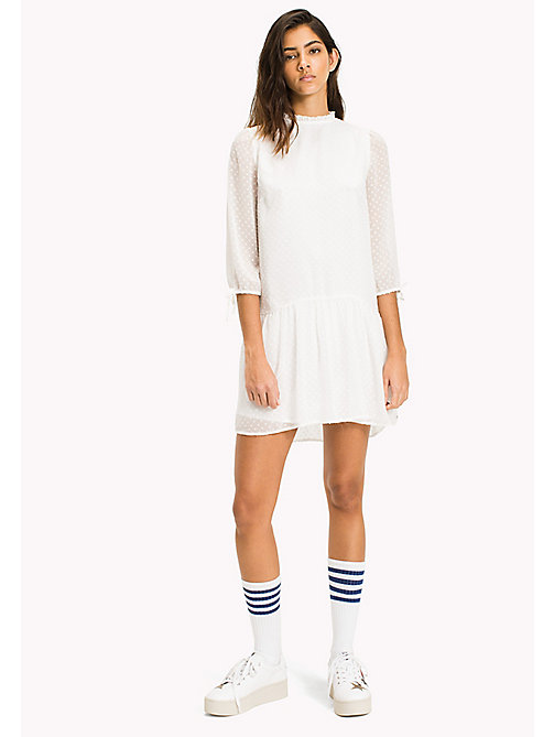 TOMMY JEANS Semi Sheer Ruffled Dress - SNOW WHITE - TOMMY JEANS WOMEN - main image