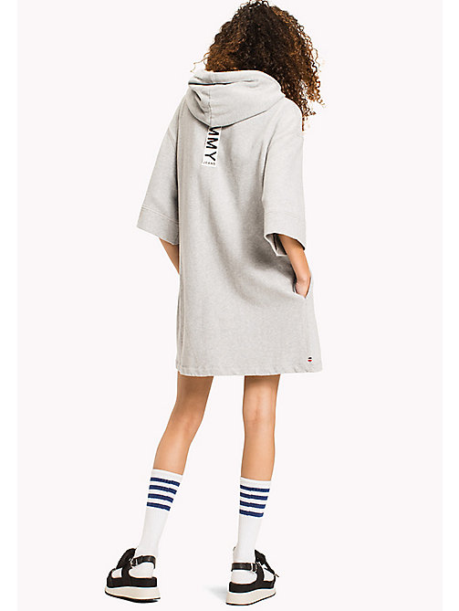 TOMMY JEANS Pure Cotton Hoodie Dress - LIGHT GREY HTR - TOMMY JEANS Jumper Dresses - detail image 1