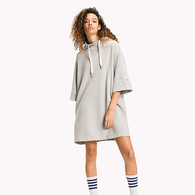 TOMMY JEANS Pure Cotton Hoodie Dress - GOLD EARTH - TOMMY JEANS Clothing - main image