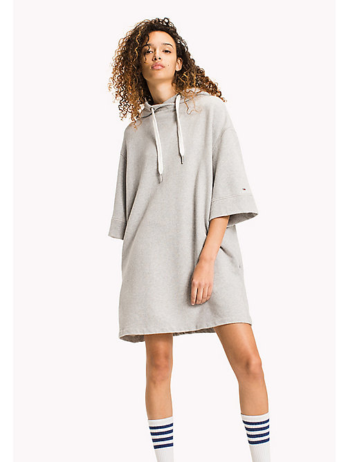 TOMMY JEANS Pure Cotton Hoodie Dress - LIGHT GREY HTR - TOMMY JEANS Jumper Dresses - main image