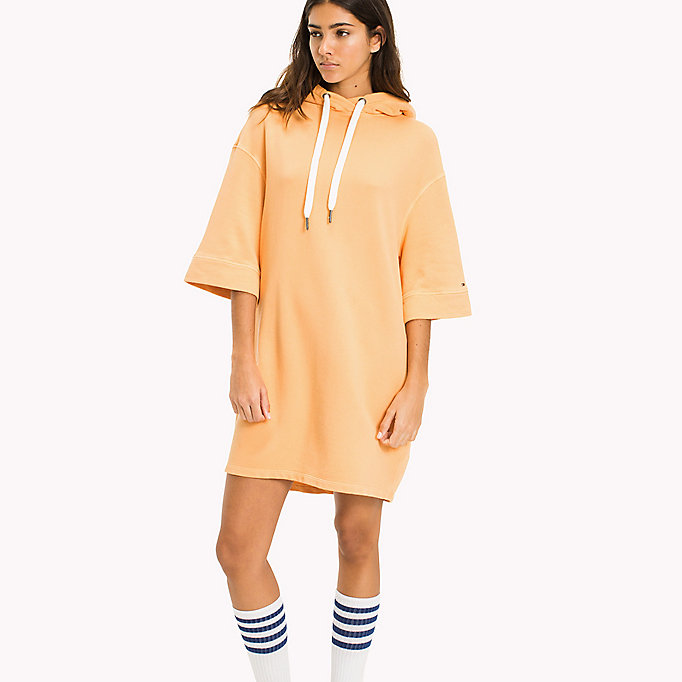 TOMMY JEANS Pure Cotton Hoodie Dress - SPICED CORAL - TOMMY JEANS Clothing - main image