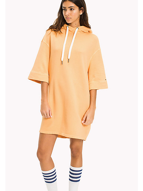 TOMMY JEANS Pure Cotton Hoodie Dress - GOLD EARTH - TOMMY JEANS Jumper Dresses - main image