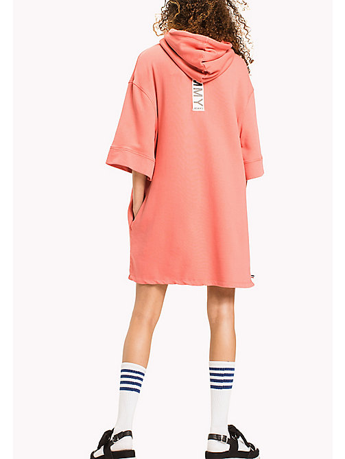 TOMMY JEANS Pure Cotton Hoodie Dress - SPICED CORAL - TOMMY JEANS Clothing - detail image 1