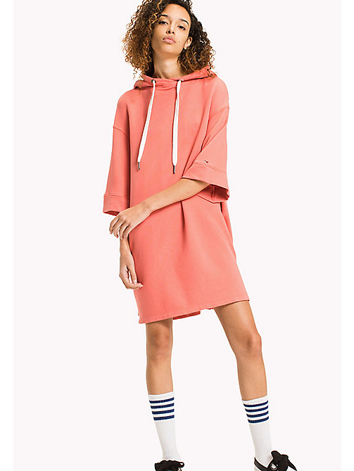 TOMMY JEANS Pure Cotton Hoodie Dress - SPICED CORAL - TOMMY JEANS WOMEN - main image