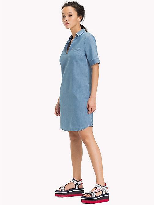 TOMMY JEANS Pure Cotton Shirt Dress - LIGHT INDIGO - TOMMY JEANS Dresses - main image