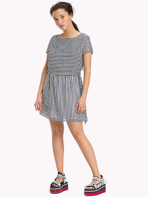 TOMMY JEANS Stripe Dress - BLACK IRIS / BRIGHT WHITE - TOMMY JEANS Mini - main image