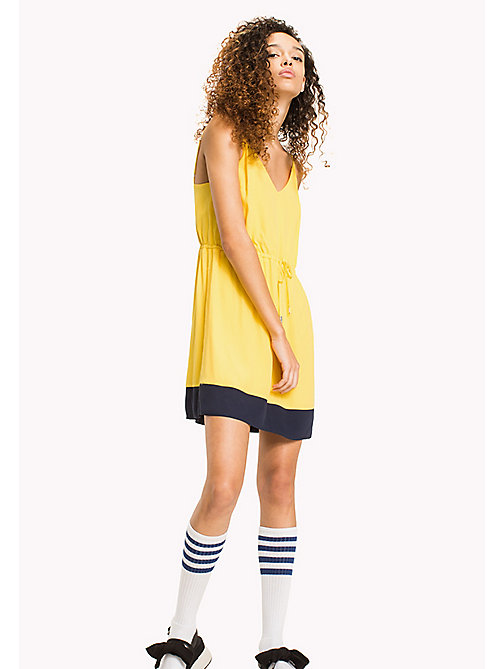 TOMMY JEANS Viscose Poplin Strap Dress - DANDELION -  VACATION - main image