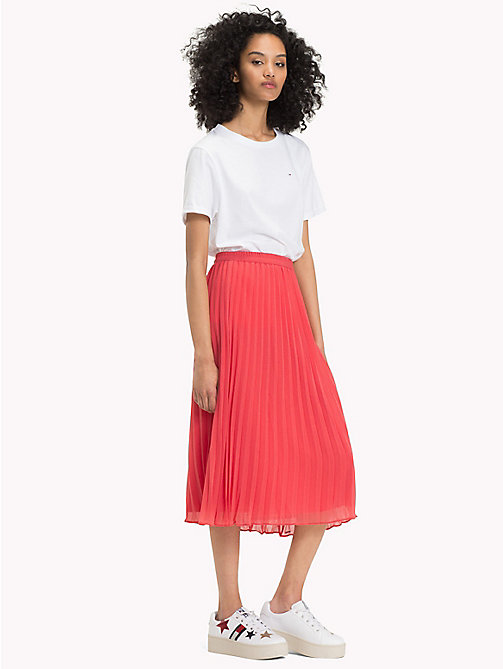 TOMMY JEANS Pleated Chiffon Skirt - SPICED CORAL -  Vacation Style - main image