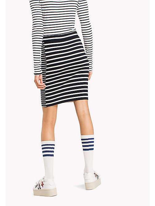 TOMMY JEANS Stripe Print Pencil Skirt - BLACK IRIS / SNOW WHITE - TOMMY JEANS Trousers & Skirts - detail image 1
