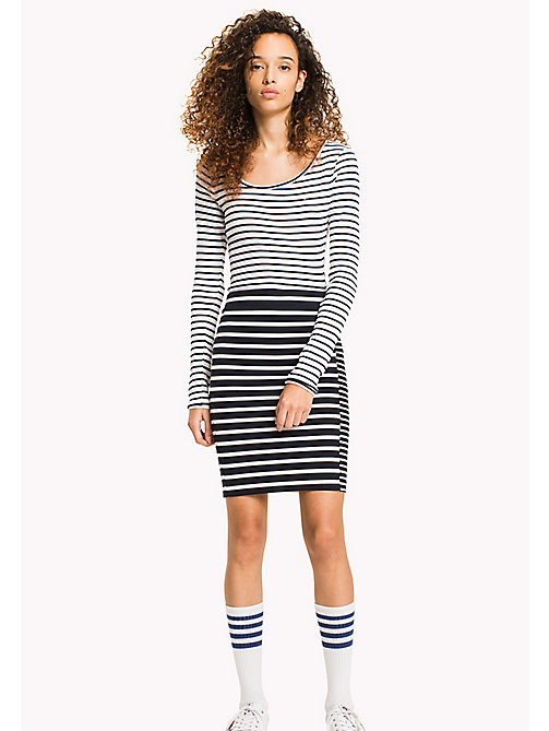 TOMMY JEANS Stripe Print Pencil Skirt - BLACK IRIS / SNOW WHITE - TOMMY JEANS DAMEN - main image
