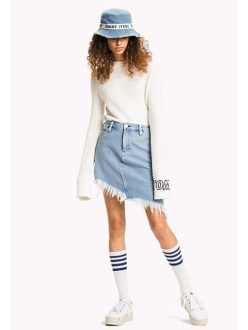 TOMMY JEANS Asymmetric Hem Denim Skirt - RAW DESTRUCTED LIGHT BLUE RIGID -  VACATION - main image