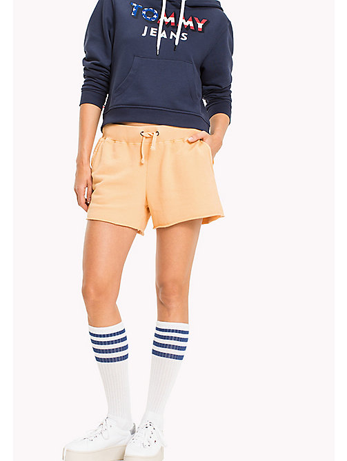 TOMMY JEANS Overdyed Cotton Shorts - GOLD EARTH - TOMMY JEANS Trousers & Shorts - main image