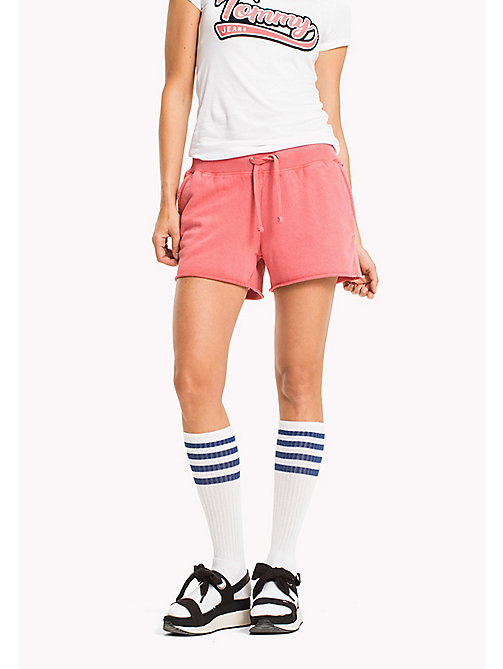 TOMMY JEANS Overdyed Cotton Shorts - SPICED CORAL - TOMMY JEANS WOMEN - main image