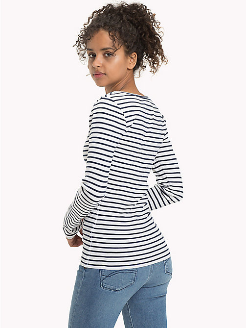 TOMMY JEANS Stripe Rib Cotton T-Shirt - BLACK IRIS / BRIGHT WHITE - TOMMY JEANS FEMMES - image détaillée 1